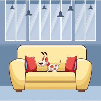 Cachorro no sofá com almofadas em preto e branco