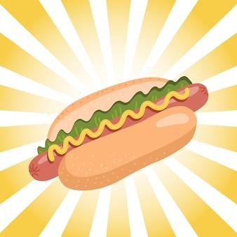 Cachorro-quente com mostarda e alface em fundo radial retrô. ilustração plana.