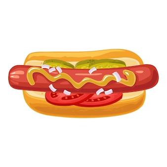 Cachorro-quente com tomate, pepino, mostarda, cebola. vista do topo. ilustração em vetor cor plana para cartaz, menus, folheto, web. ícone isolado no fundo branco.