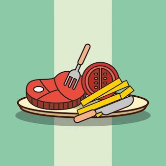 Cachorro-quente de fast-food, batatas fritas e bacon