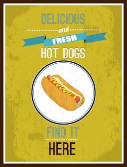 Cachorro-quente delicioso e fresco. encontre aqui. cartaz pronto para imprimir