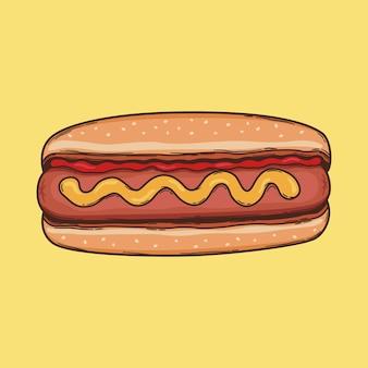Cachorro-quente desenho ilustração fast food vector doggo com ketchup