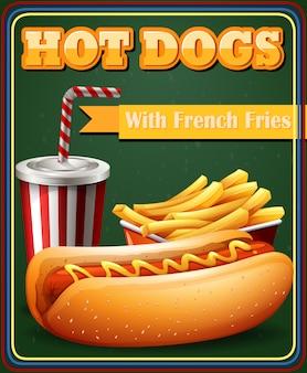 Cachorro-quente e batata frita no menu de pôsteres