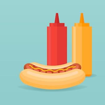 Cachorro-quente e garrafas de ketchup e mostarda