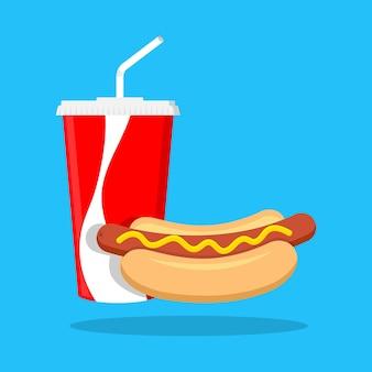 Cachorro-quente e lata de refrigerante fast food