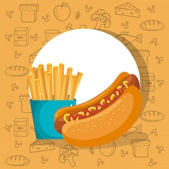 Cachorro-quente e refrigerante fast food