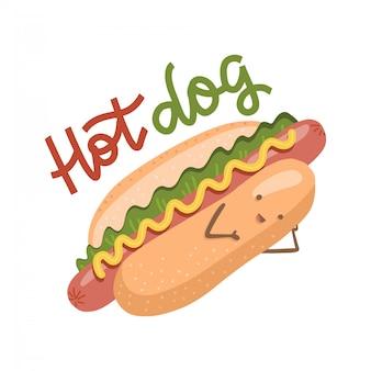 Cachorro-quente engraçado com uma cara de sorriso bonito. fast-food com rosto humano. ícones de ilustração plana de estilo moderno. isolado no fundo branco com letras de mão desenhada.