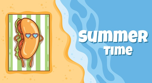 Cachorro-quente fofo tomando banho de sol na praia com uma faixa de saudação de verão