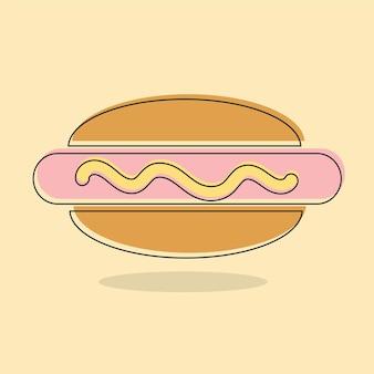 Cachorro-quente, ícone de linha de sanduíche de salsicha cozida, sinal de vetor de contorno preenchido, pictograma colorido linear isolado. ilustração do logotipo