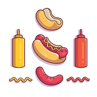 Cachorro-quente ingrediente elementos icon ilustração. elemento de conjunto de cachorro-quente. conceito ícone fast food branco isolado