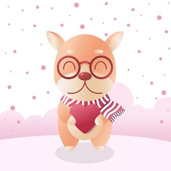 Cachorro shiba inu fofo com cachecol de inverno com coração