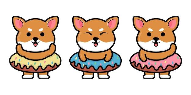 Cachorro shiba inu fofo com ilustração de desenho animado de donut