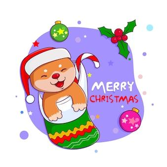Cachorro shiba inu fofo com meia de natal desenhado à mão estilo cartoon