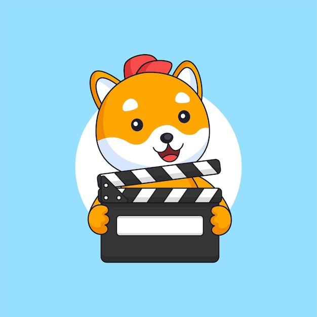 Cachorro shiba inu segurando filme claquete produção filme mascote animal ilustração do logotipo do desenho animado