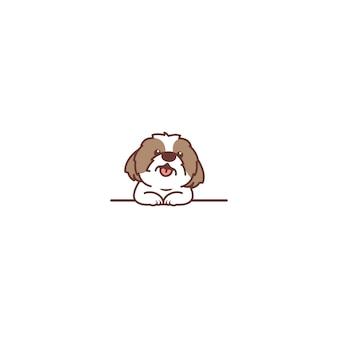 Cachorro shih tzu fofo sorrindo sobre desenho de parede