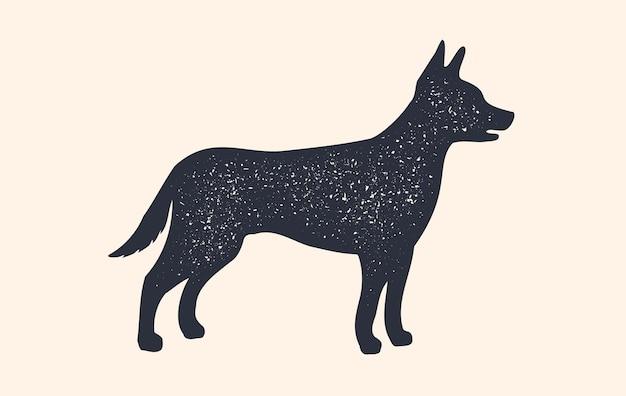 Cachorro, silhueta. projeto de conceito de animais domésticos - cão, perfil de vista lateral. cão de silhueta preta isolado em fundo branco. impressão retro vintage, cartaz, ícone.