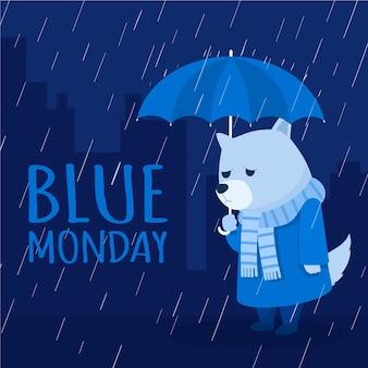 Cachorro triste na segunda-feira azul