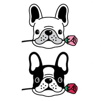 Cachorro vector bulldog francês subiu desenhos animados do filhote de cachorro de flor