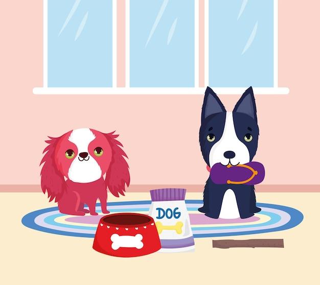 Cachorros brincando em casa