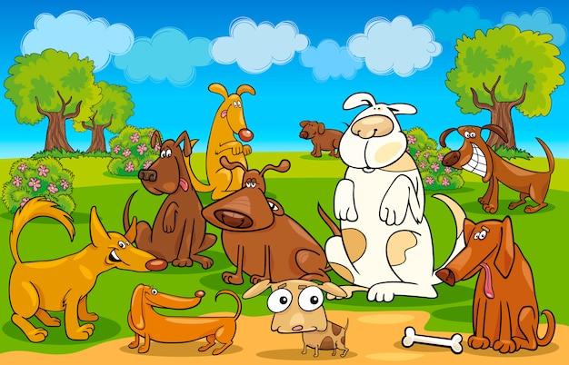 Cachorros de desenho no prado