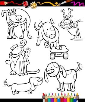 Cachorros de desenhos animados definidos para colorir livro