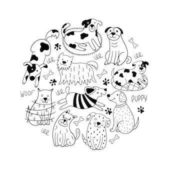 Cachorros engraçados, estilo doodle.