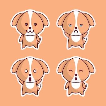 Cachorros fofos em várias expressões