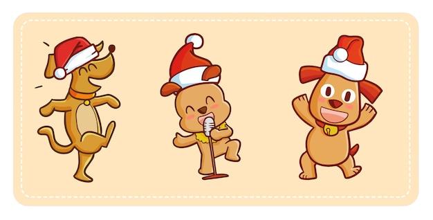 Cachorros kawaii fofos e engraçados dançando e cantando celebrando o natal