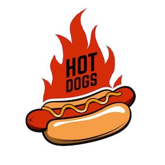 Cachorros quentes. cachorro-quente em estilo retro com fogo isolado no fundo branco. comida rápida.