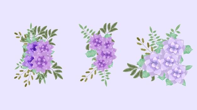Cachos de buquê de vetor com flores de primavera definem arranjos isolados como design para banners