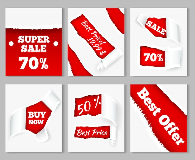 Cachos de papel rasgado, revelando preços de desconto de super vendas em conjunto de cartões realistas de fundo vermelho