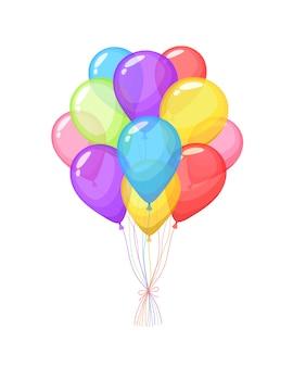 Cachos e grupos de balões de hélio de cor isolados no branco