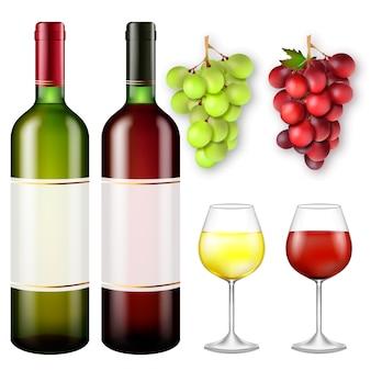 Cachos realistas de uvas e garrafas de vinho