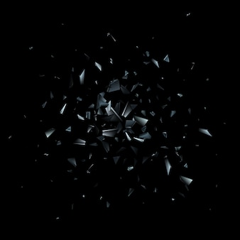 Cacos de vidro quebrado. explosão abstrata.