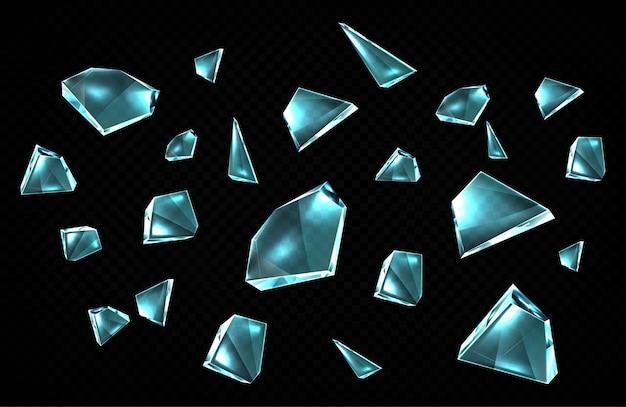 Cacos de vidro quebrados isolados em um fundo preto, pedaços de vidro quebrados espalhados aleatoriamente, fragmentos de cristal de gelo transparente com bordas afiadas, elementos de design, conjunto de ícones de desenho animado