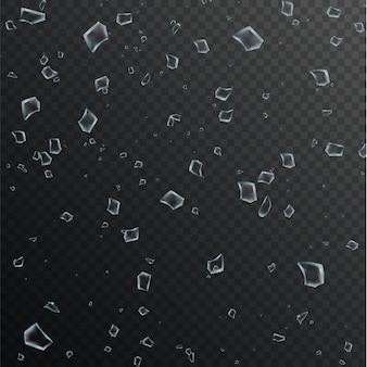 Cacos transparentes realistas de vidro quebrado