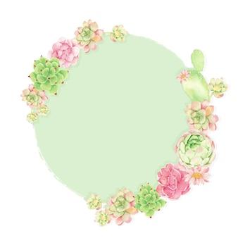 Cacto aquarela e suculenta moldura redonda de coroa de flores
