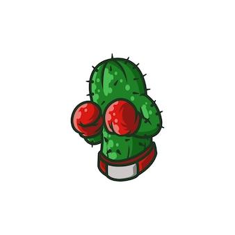 Cacto boxe cartoon boxer luvas engraçadas