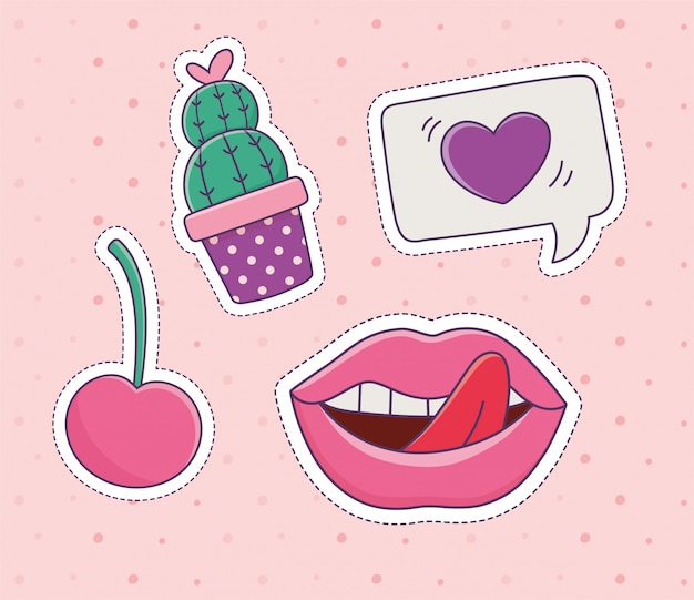 Cacto cereja lábios amo remendo moda distintivo adesivo decoração ícone