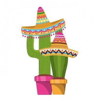 Cacto com pote e ícone de chapéu mexicano