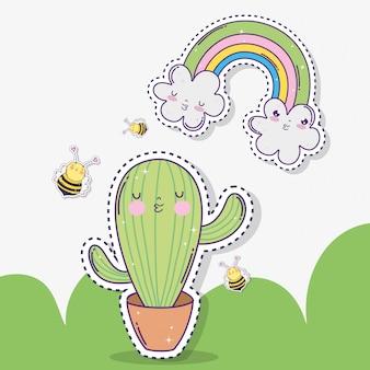 Cacto de kawaii com abelhas e nuvens com arco-íris