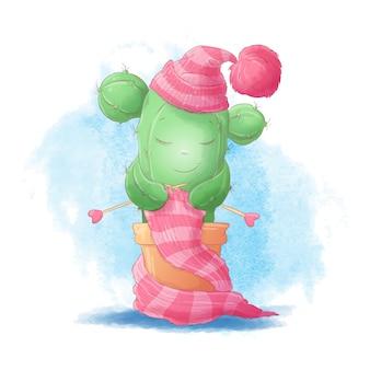 Cacto de menina bonito dos desenhos animados tricota um cachecol com um chapéu quente. ilustração vetorial