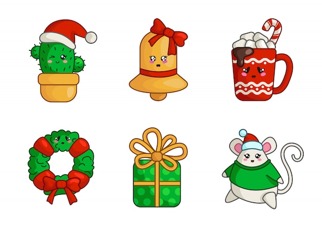 Cacto de natal kawaii, sino de ouro, caixa de presente, rato gordo, copo de bebida quente, coroa de flores,