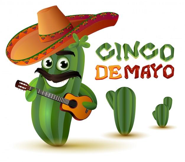 Cacto divertido mexicano no sombrero toca guitarra. cinco de maio
