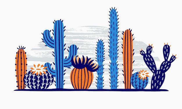 Cacto do deserto mexicano. flor de cactos, planta de jardim exótica e flores de cactos tropicais isoladas