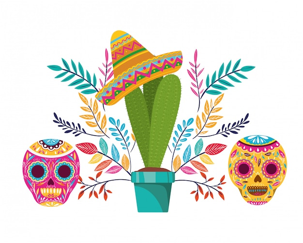 Cacto e caveira com ícone de chapéu mexicano