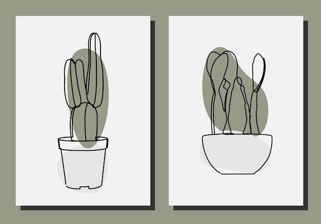 Cacto estético planta vetor premium on-line contínuo de arte em linha