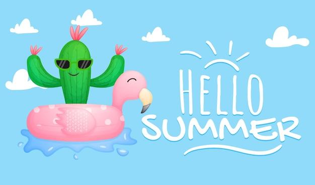 Cacto fofo com banner de saudação de verão