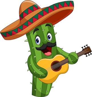 Cacto mexicano de desenho animado tocando violão