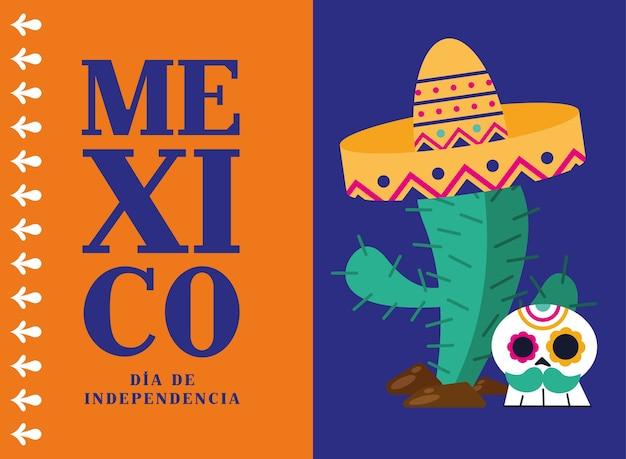 Cacto mexicano dia de la independencia com desenho de chapéu e caveira, ilustração vetorial tema cultural